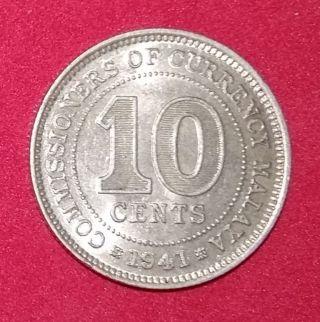 Malaya 1941 10 Cent Xf - Au Silver Coin. photo