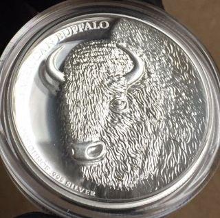 2014 American Buffalo High Relief 1oz Fine Silver Proof Coin W/box & Tuvalu photo