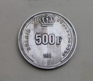 Belgium,  500 Francs 1990,  Silver Coin,  60th Birthday Of King Baudouin photo