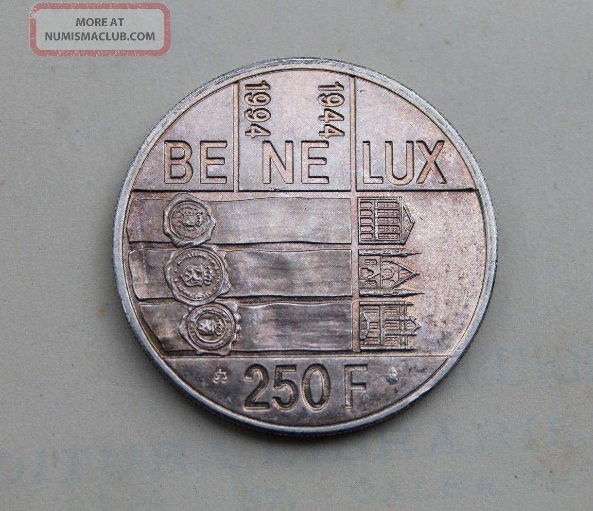 Belgium,  250 Francs 1994,  Be Ne Lux,  Silver Coin Albert Ii 50 Ans Du Benelux Europe photo