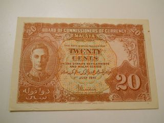 Malaya 20 Cents Wwii Paper Money,  1941 Banknote,  Currency,  Unc photo