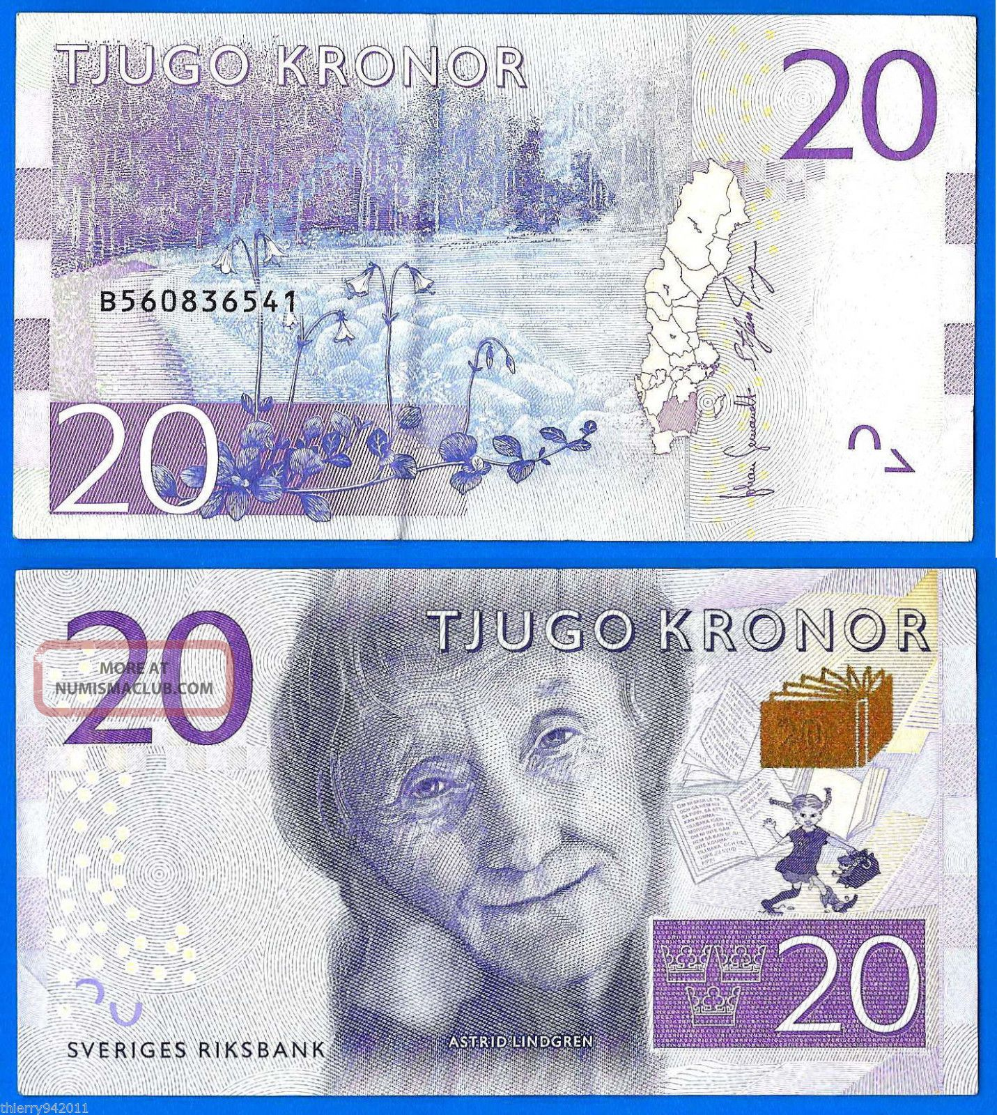 Sweden 20 Kronor 2015 Prefix B Sveriges Lindgren Europe World Europe photo