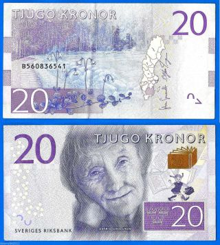 Sweden 20 Kronor 2015 Prefix B Sveriges Lindgren Europe World photo