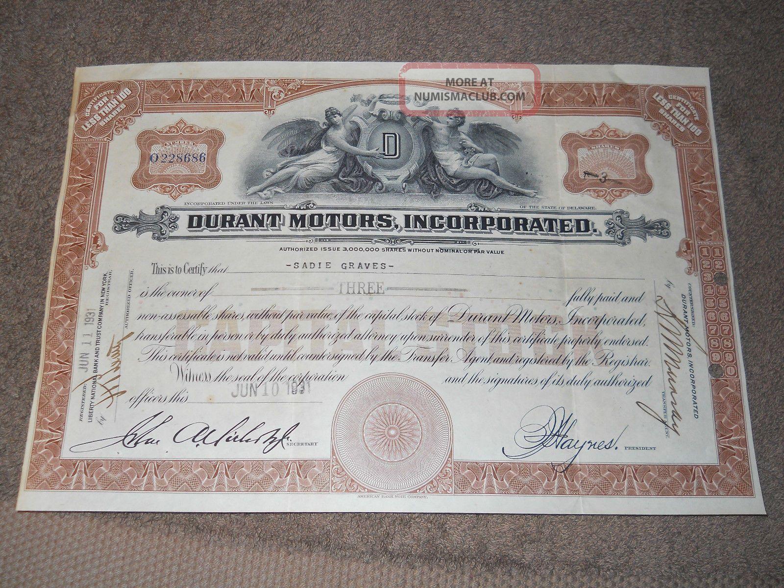 1931 Durant Motors Stock Certificate.  Lansing Michigan Transportation photo