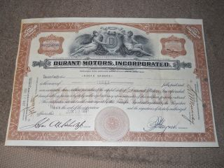 1931 Durant Motors Stock Certificate.  Lansing Michigan photo