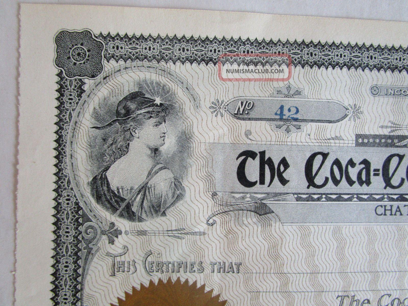 The Coca - Cola Bottling Stock Certificate 42 Chattanooga,  Tn Stocks & Bonds, Scripophily photo