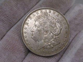 1921 Silver Us Morgan Dollar.  Grades @ Xf. photo