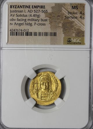 Ancient Byzantine Empire Gold Coin Justinian I Av Solidus Ngc State photo