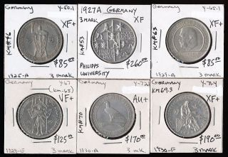 6 German 3 Marks (1925 - 1930) Worthwhile Collectibles Here photo