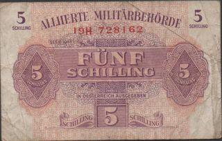 Austria 5/ - Serie 1944 P 105 Series 19h Circulated Banknote photo