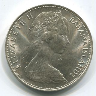 1966 Bahamas $5 Sterling Silver.  Queen Elizabeth Ii.  Gem Uncirculated. photo