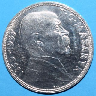 Czechoslovakia 1937 10 Korun,  Death Of President Masaryk,  Silver Coin Ag,  Km 18 photo