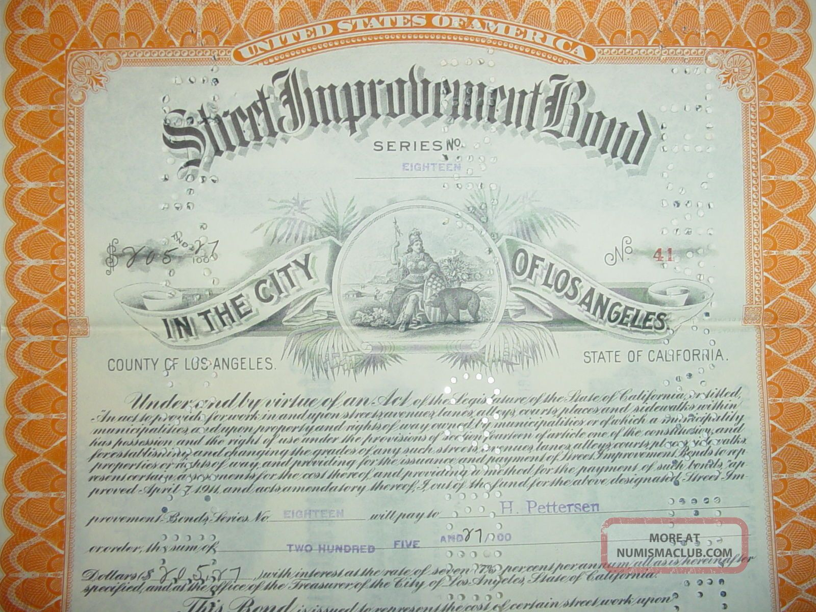City Of Los Angeles Street Improvement Bond California Stocks & Bonds, Scripophily photo