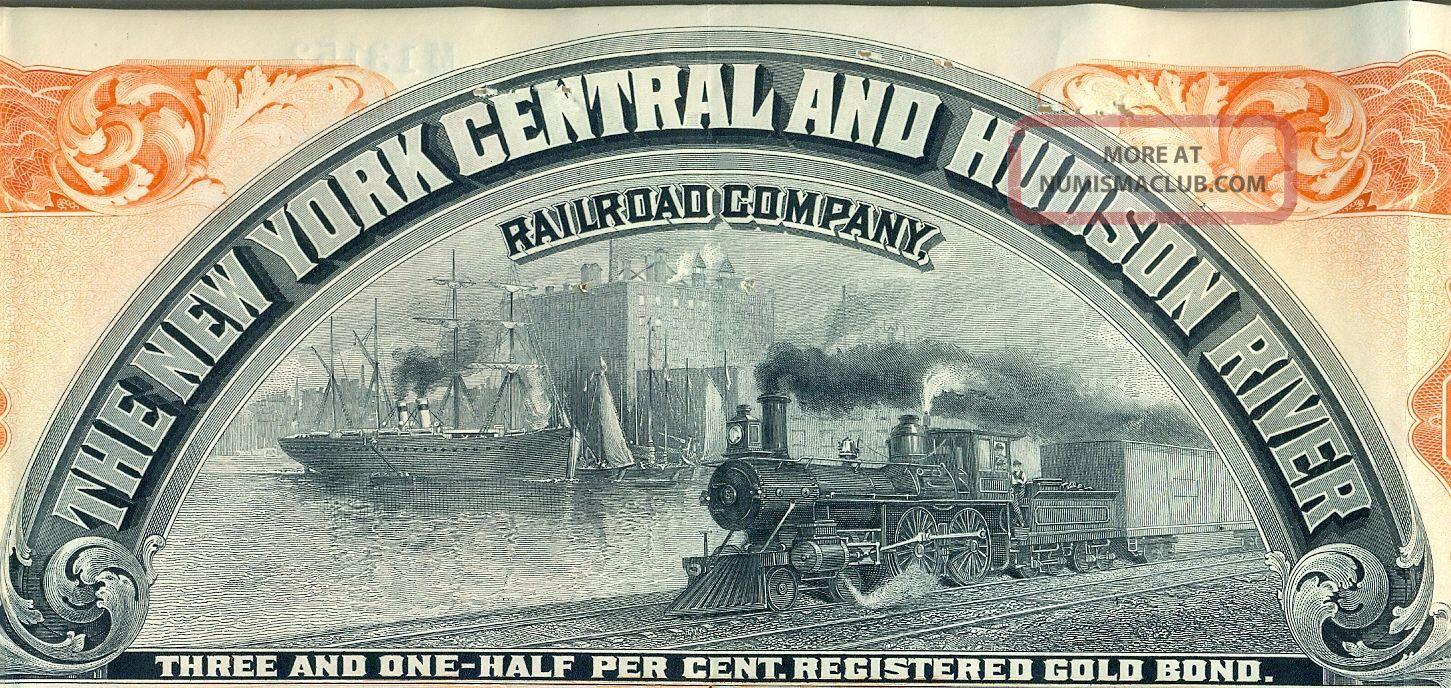 York Central & Hudson River Railroad Bond Stock Certificate Rr Lake Shore Transportation photo