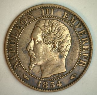 1854 A France 5 Cent Centimes Bronze Coin Xf photo
