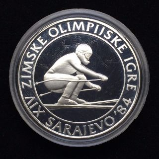 Yugoslavia Silver Proof Coin 84 Sarajevo Olympic 500 Dinar 1982 Ski Racer H68 photo