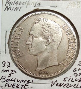 Venezuela Silver Coin Gram 25,  5 Bolivares 1936 (normal Date) photo