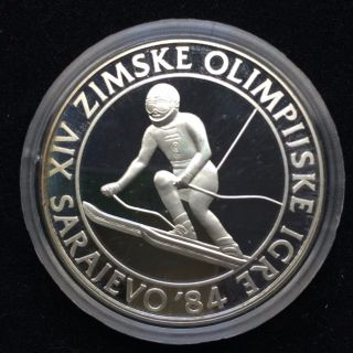 Yugoslavia Silver Proof Coin 84 Sarajevo Olympic 500 Dinar 1984 Ski Slalom H72 photo