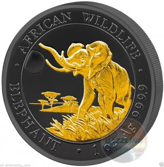 2016 Golden Enigma Elephant - 1oz Silver Ruthenium Gold Plated Coin Somalia photo