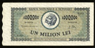 X126 Romania 1000000 Lei 1947 P 60 Banknote Aunc photo