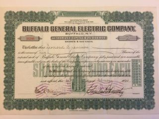 1922 Buffalo General Electric Stock Certificate Rare Signed Charles Huntley Ny photo