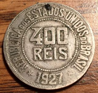 1927 Brazil 400 Reis Liberty Bust Copper Nickel Coin photo