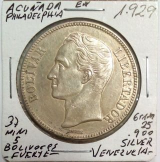 Venezuela Silver Coin Gram 25,  5 Bolivares 1929 Au Normal Date photo