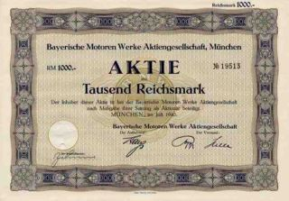 Rare Ww2 Nazi 1941 Bmw Motors 1000 Mark Bond 1986 Specimen Avail Only $20 photo