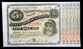 1886 State Of Louisiana $5 Five Dollars Baby Bond With 5 Coupons photo