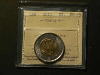 Canada,  2010 Twoony Toonie Dollar Iccs Ms - 65 2780 photo