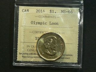 Canada,  2014 Olympic Loon Dollar $1.  00 Iccs Ms - 66 2505 photo