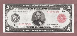 1914 $5 Fr 838b Federal Reserve Note - Red Seal - Columbus - Appears Uncir photo
