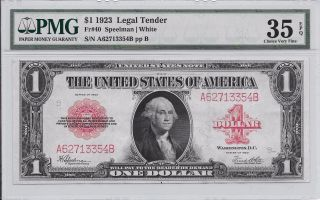 Paper 1923 $1 Dollar Legal Tender Red Seal Fr - 40 Choice Vf - 35 Epq photo