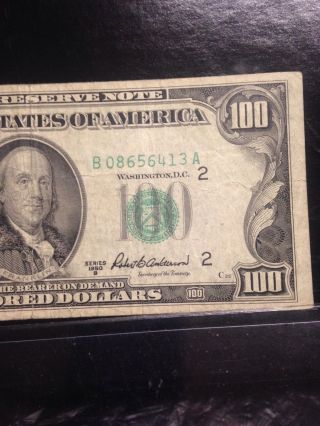 Currency Us $100.  Federal Reserve Note 1950b photo