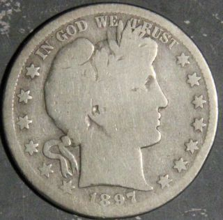 1897 - S Barber Half Dollar Grade G As Pictured Inv 1319 photo