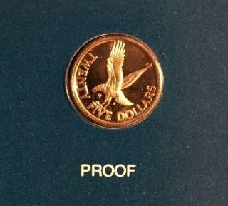 1980 Proof British Virgin Islands $25 Gold Coin Km 27 Diving Osprey Hawk photo