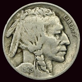 1925 - P Buffalo Nickel 5c Vf (vl1754) photo