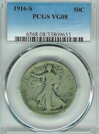 1916 - S Walking Liberty Half : Pcgs Vg08 photo