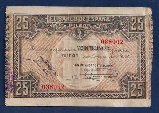 Spain Bilbao 25 Pesetas 1937 S563 Spanish Civil War Era Modernism Art Note photo