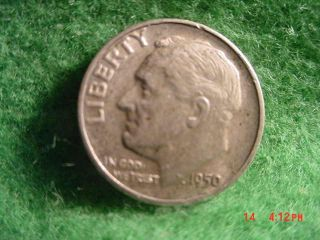 1950 - D Roosevelt Dime,  Very Fine Silver Korean War photo