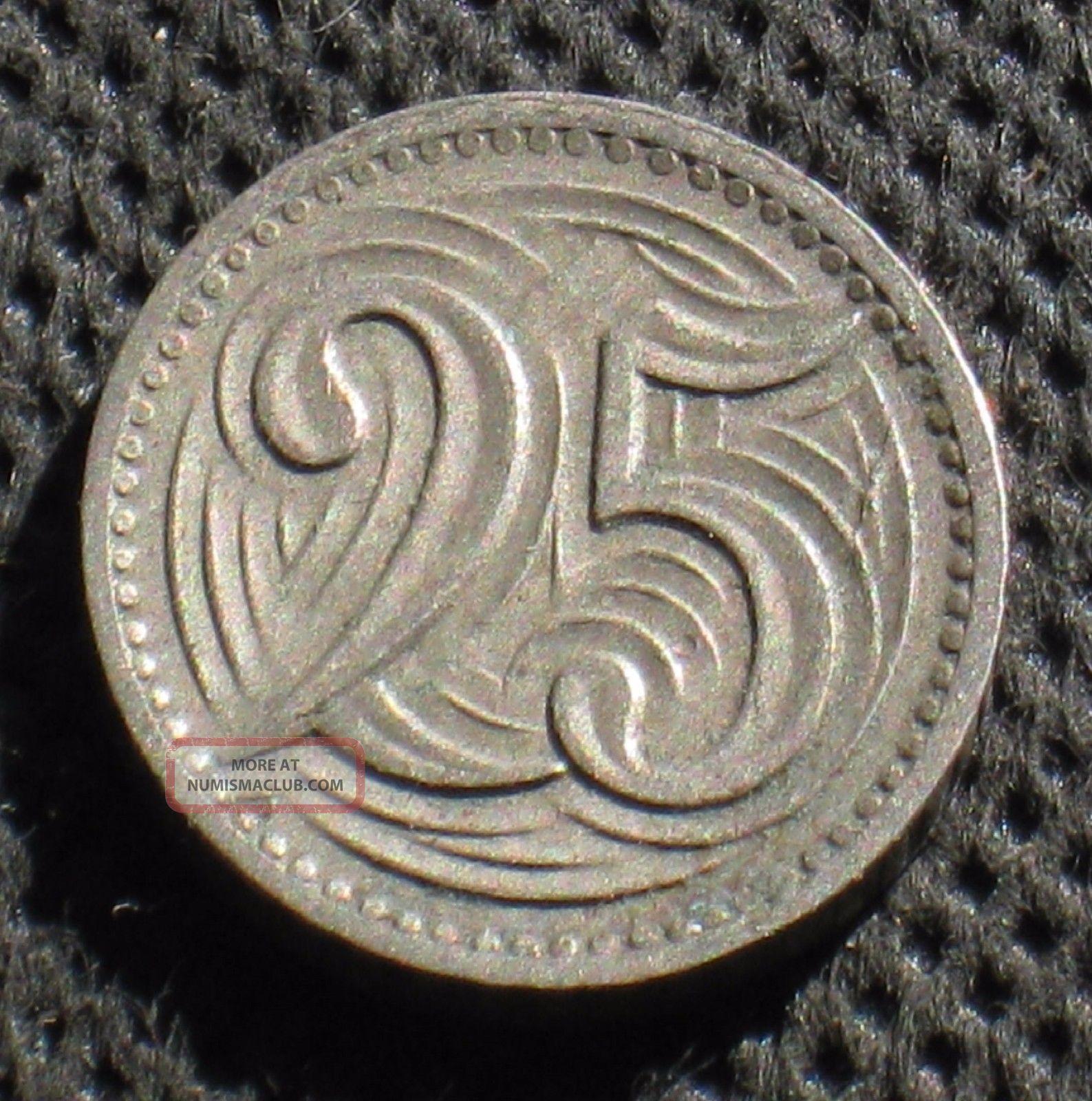 Old 25 Haleru 1933 Coin Of Czechoslovakia Czech Republic photo