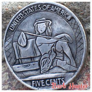 Hobo Buffalo Nickel Hobo Girl Carved Coin By Barb Hunter Ohns Member photo