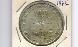 Hungary 1972 100 Forint Silver Unc Coin photo
