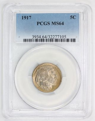 1917 Buffalo Nickel Ms 64 Pcgs (7105) photo
