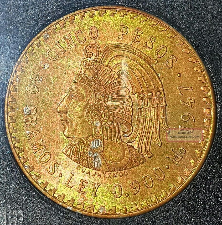 1947 Cuauhtemoc Cinco Pesos Mexico Silver