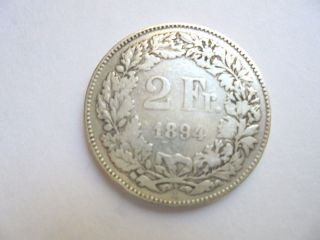 Switzerland 2 Francs 1894 Silver Solid Coin photo