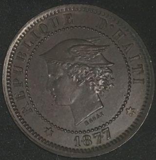 Haiti 1877 Ib Ct 20 Centimes Copper Km - Pn 75 photo