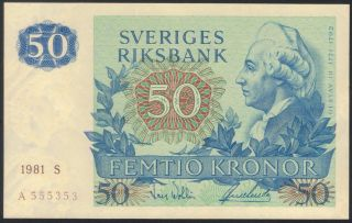 Tmm 1981 Banknote Sweden 50 Kroner P53c Ef photo