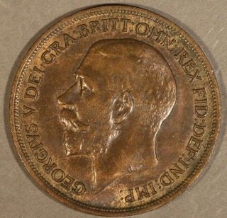 1913 Great Britain Penny Lightly Circulated U.  S photo