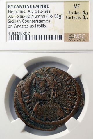 Heraclius Ae Follis Sicilian Ngc Vf Countermarked Overstruck On Anastasius photo